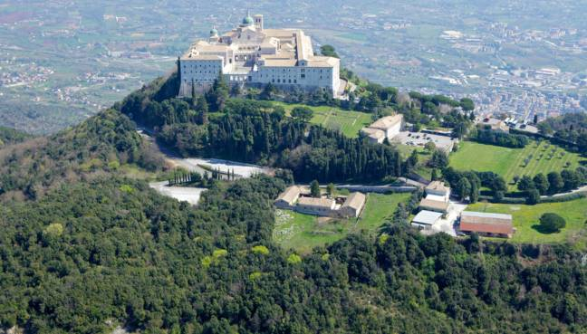 Aerial view of Montecassino Monastery.